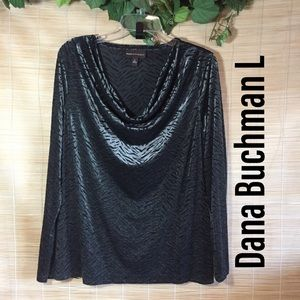 Dana Buchman flocked top L